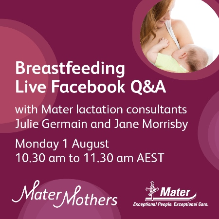 Breastfeeding live chat next Monday 1 August